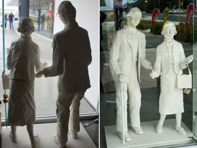 Paper mache figures by a local artist, a window  display in the windowat 'The Makers'