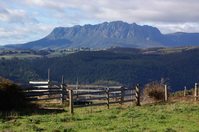 Looking back at the Cradle Mountain range